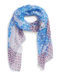 Nordstrom Blue Silk Chiffon Oblong Scarf