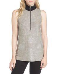 Trouvé - Gray Metallic Knit Mock Neck Top - Lyst