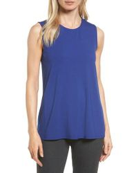 Eileen Fisher | Blue Long Jersey Tank | Lyst