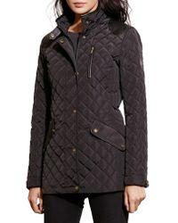 Lauren by Ralph Lauren - Black Faux Leather Trim Quilted Coat - Lyst