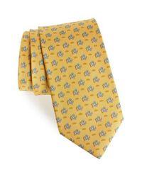 Ferragamo - Yellow Ercole Print Silk Tie for Men - Lyst