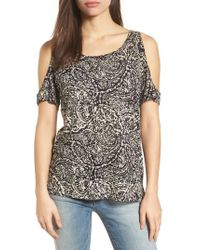 Lucky Brand | Black Cold Shoulder Paisley Top | Lyst