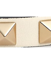 Valentino White Rockstud Small Leather Bracelet