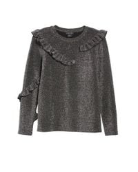 Trouvé - Gray Ruffle Metallic Top - Lyst