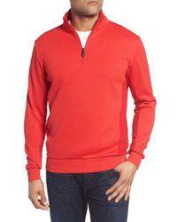 Bugatchi - Red Regular Fit Knit Quarter Zip Pullover for Men - Lyst