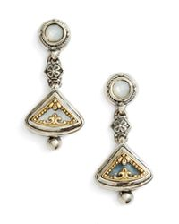 Konstantino - Metallic Eched Sterling Silver & Gold Drop Earrings - Lyst
