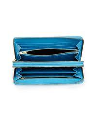 Comme des Garçons Blue Comme Des Garçons Leather Continental Long Wallet for men