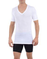 Tommy John White Second Skin Micromodal Deep V-neck Undershirt for men