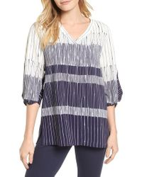 Chaus - Blue Ink Lines Blouse - Lyst