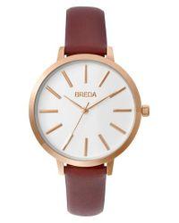 Breda - Metallic Joule Round Leather Strap Watch - Lyst
