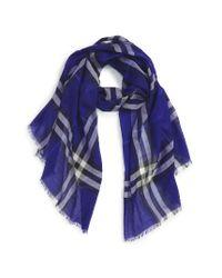 Burberry | Blue Giant Check Print Wool & Silk Scarf | Lyst