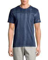Champion Blue Bleached Wash Crewneck Cotton T-shirt for men