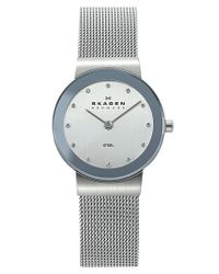 Skagen - Metallic Round Case Mesh Strap Watch - Lyst
