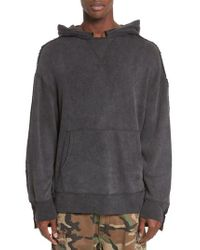 R13 Gray Two-tone Hoodie for men