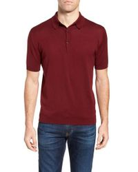John Smedley - Red Jersey Polo for Men - Lyst