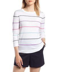 Nordstrom - White 1901 Stripe Cotton Sweater - Lyst