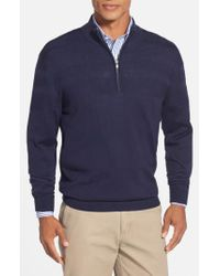 Cutter & Buck Blue 'douglas' Merino Wool Blend Half Zip Sweater for men