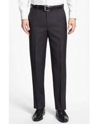 Santorelli Green Flat Front Wool Trousers for men