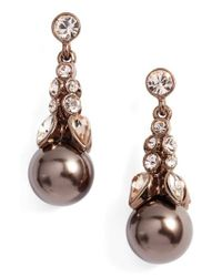 Givenchy | Brown Crystal Drop Earrings | Lyst