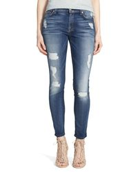 7 For All Mankind Blue 7 For All Mankind Ripped Ankle Skinny Jeans