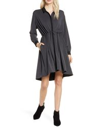 French Connection Black Ren Contrast Detail Long Sleeve Dress