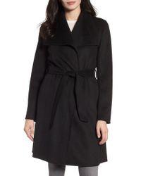 Tahari | Black Ellie Double Face Wool Blend Wrap Coat | Lyst