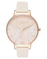 Olivia Burton - Pink Lace Detail Faux Leather Strap Watch - Lyst