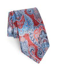 Ermenegildo Zegna Red Paisley Silk Tie for men