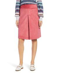 Nordstrom - Pink 1901 Corduroy Knee Length Skirt - Lyst