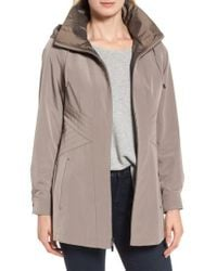 Gallery - Natural Two-tone Long Silk Look Raincoat - Lyst