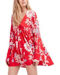 Free People - Red Bella Print Tunic - Lyst