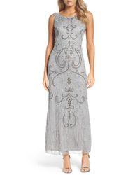 aaef195d207 Lyst - Pisarro Nights Scoop Back Embellished Gown in Metallic