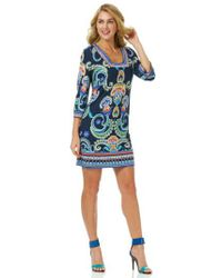 Laundry by Shelli Segal - Blue Print Jersey Square Neck Shift Dress - Lyst
