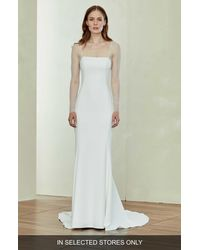 Amsale White Illusion Sleeve Crepe Trumpet Gown