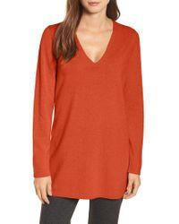Eileen Fisher Orange V-neck Cashmere & Wool Tunic