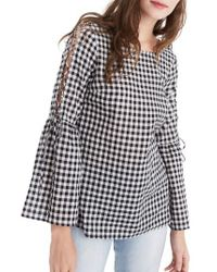 Madewell | Black Lace-up Sleeve Gingham Blouse | Lyst