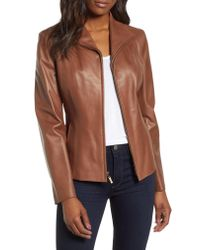 Cole Haan Brown Lambskin Leather Scuba Jacket