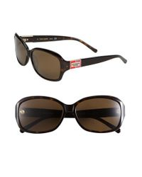 Kate Spade | Brown 'annika' 56mm Polarized Rectangular Sunglasses | Lyst