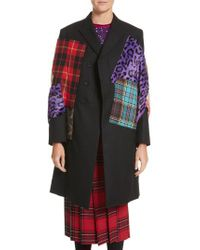 Junya Watanabe - Black Mixed Media Patchwork Coat With Faux Fur - Lyst