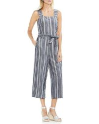 879dad8df98 Lyst - Vince Camuto Charcoal Stripe Belted Cotton Linen Jumpsuit in Blue