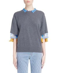 Toga - Gray Check Tier Sleeve Sweater - Lyst