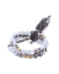 Nakamol - White Crystal & Freshwater Pearl Stretch Bracelet - Lyst