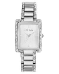 Anne Klein - Metallic Crystal Bracelet Watch - Lyst