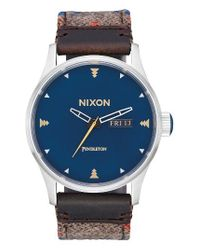 Nixon | Blue The Sentry Leather Strap Watch | Lyst