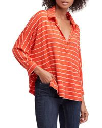 Free People - Red Free People Can't Fool Me Stripe Top - Lyst