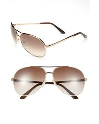 Tom Ford | Pink 'charles' 62mm Aviator Sunglasses - Shiny Rose Gold/ Brown for Men | Lyst