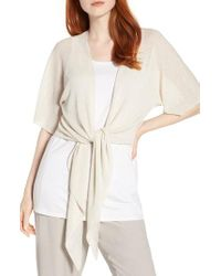 Eileen Fisher Black Tie Front Organic Linen Blend Cardigan