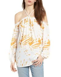BISHOP AND YOUNG Multicolor Bishop + Young Ana Palm Print Off The Shoulder Top
