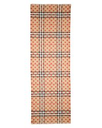 Burberry - Brown Dot & Giant Check Wool & Silk Gauze Scarf - Lyst