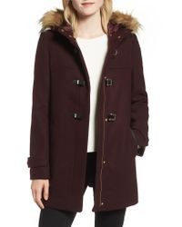 Cole Haan Multicolor Cole Haan Hooded Duffle Coat With Faux Fur Trim